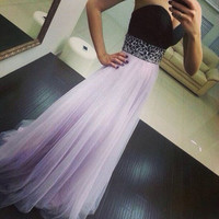 Sexy Strapless Long Prom Gowns Beaded Embellishments pst0062