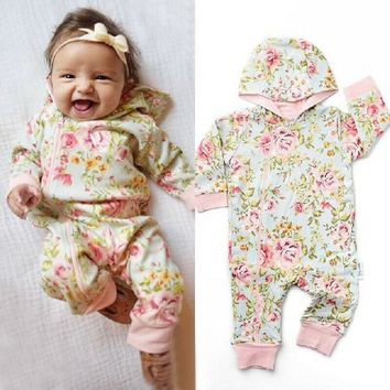US Newborn Kids Baby Girls Floral Hooded Romper Jumpsuit Bodysuit Clothes Outfit