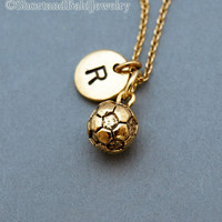 Soccer ball necklace, soccer charm, foot ball necklace, initial necklace, personalized, antique silver, monogram