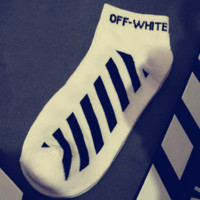 Off-White male and female street striped letters sports tide brand short socks White