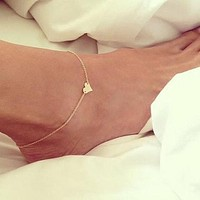 Silver or Gold heart anklet for women.