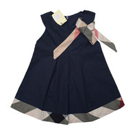 Plaid Bow Summer Dress English Preppy Style