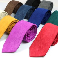 New Casual Brand 100% Cotton Ties For Men Gravatas Corbatas Slim Suits Vestidos Necktie Solid Red Yellow Navy Purple Party Ties