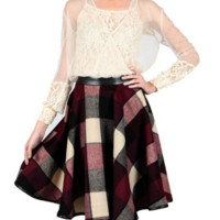 Plaid is my Friend -RYU- Wool Blend Check Skirt-Burgundy Multi
