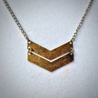 Chevron Necklace, Chevron Necklace Gold, Chevron Pendant, Raw Brass, Geometric Necklace, Geometric, Chevron, V Necklace, Minimal, Necklace