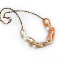 Peach Tan Polymer Clay Chain Necklace - Soft Pastel Ombre - Handmade Oversized Chain Link Necklace