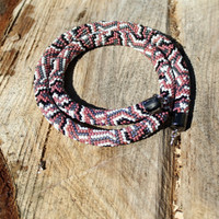 """Beaded rope crochet """" Snake"""" with geometric pattern, Beaded rope necklace , brown, gray, white, black color, Handmade jewelry, Gift for her"""