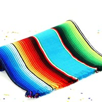 """Turquoise Mexican Blanket fabric Table Runner 14x60"""""""