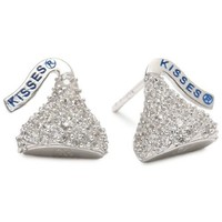 Hershey Jewelry Sterling Silver with CZ Small Flat Back Shaped Stud Type Earrings