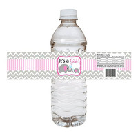 Baby Girl Elephant Water Bottle Labels - Baby Shower Party Drink Stickers in Pink - Set of 10