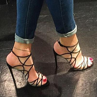 Gauze Hollow Fashion Women Peep Toe High Heels Shoes
