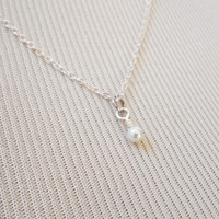 Pearl Necklace - Charm Necklace - Tiny Necklace - Delicate Necklace - Silver Necklace - Silver Jewelry - Wedding Gift  - Bridal Party