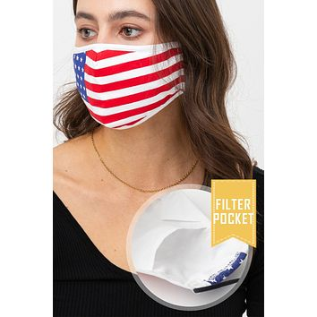 USA American Flag Protective Washable Face Mask with Filter Pocket