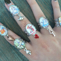 Alice rings Alice charm rings ONE Alice midi rings Alice in Wonderland inspired Fantasy Queen of Hearts cospaly Animee boho hipster
