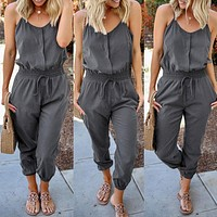 2020 New Women's Fashion Sling Lace Casual Jumpsuit