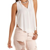 High-Low Tulip Slit Chiffon Top by Charlotte Russe