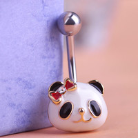 Enamel Panda Head Belly Button Ring - Navel Piercing