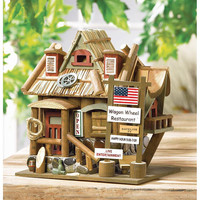 Whimsical Rustic Wagon Wheel Restaurant Collectors Village Birdhouse
