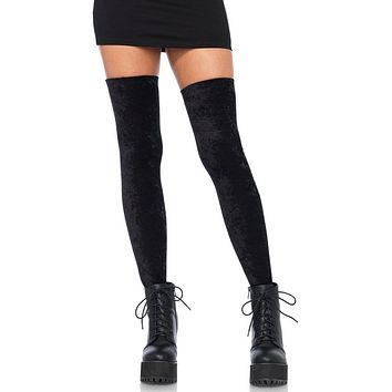 Head Mistress Black Crushed Velvet Thigh High Stockings Tights Hosiery