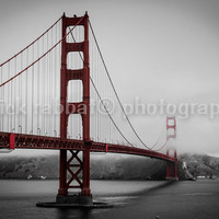 Golden Gate bridge Fine Art Photography San Francisco Scenery Black&White Red Grey Romantic Urban Classic