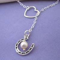 I Love Horses Lariat Necklace in sterling silver - Lucky Horseshoe