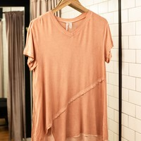 Asymmetric Tunic Top, Rose