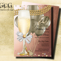 50th Birthday Invitation for Women Fifty and Fabulous Birthday Golden 50 High Heel Glam Invitation Adult Party Printable Invitation Rosegold
