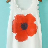 Red Floral Scalloped Tee - OASAP.com