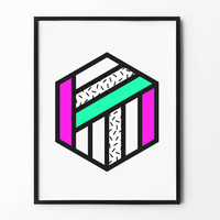 Neon Wall Print, Geometric Art, Hexagon Poster, Black and White, Colorful, Pink, Green, wall decor, inspirational, abstract art, lined