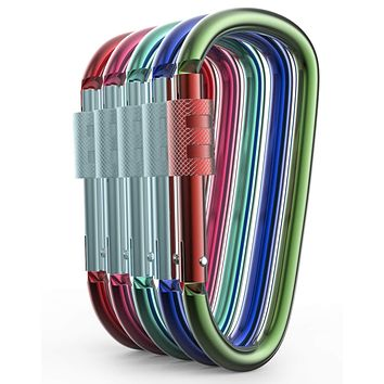 Gold Lion Gear Aluminum Carabiner D Shape Buckle Pack, Keychain Clip, Spring Snap Key Chain Clip Hook Screw Gate Buckle Multicolor 10 Locking Carabiners