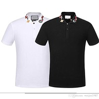 GUCCI Spring Luxury Italy Tee T-Shirt Designer Polo Shirts High Street Embroidery Garter Snakes Little Bee Printing Clothing Mens Brand Polo Shirt