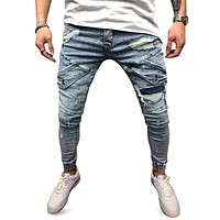 Worn-out Hole Mid Waist Stitching Slim Leg Zipper Jeans for Men