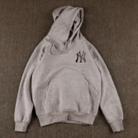 Gray NY Printed Long Sleeve Hoodies Pullover Sweater