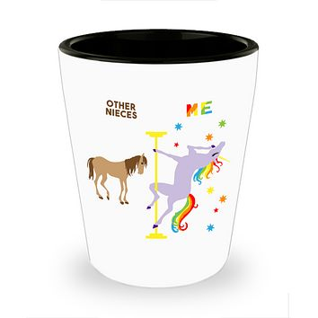Funny Niece Gift for Niece from Aunt and Uncle Birthday Gifts for Her Unicorn Pole Dancing Unicorn Ceramic Shot Glass
