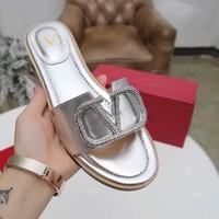Valentino Popular Summer Women Flats Men Slipper Fendi Sandals Shoes