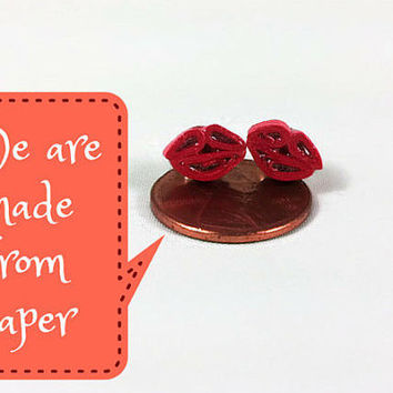 Tiny Red Lips Stud Earrings - tiny lips earrings, tiny stud earrings, tiny kisses earrings, small kiss earrings, paper quilling earrings