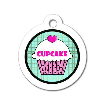 Pink Cupcake with Teal Pattern - Cute Pet Tag