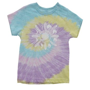 White Dreamcatcher Moon Phases Youth Tie-Dye T-shirt