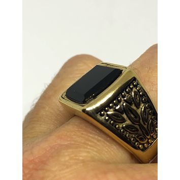 Vintage Gothic Gold Finished Stainless Steel Black Onyx Mens Ring
