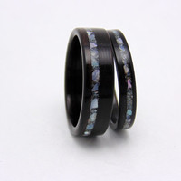 Wood Wedding Bands Ebony with mother of pearl Handmade Bentwood matching wedding bands