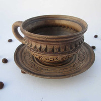 Ceramic cup with saucer Ceramics and pottery Redware coffee mug Hand made tea mug Art pottery Pottery cup Cup and saucer