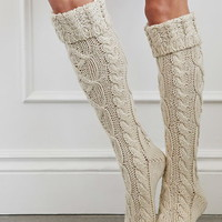 Cuffed Knee-High Slipper Socks