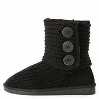 Tom-05 Fold Over Button Knit Sweater Boots | MakeMeChic.com