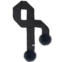LUX FUR POM SCARF BLACK WITH BLACK FUR