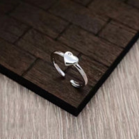 Simple 925 Sterling Silver heart ring + Gift box ALQ1022R