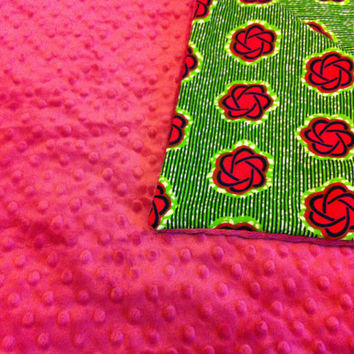African Wax Print Blanket in Green and Berry Floral with Berry Pink Dot Minky