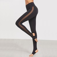 Womens Breathable Mesh Splice Yoga Skinny Workout Gym Leggings