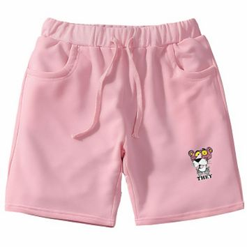 Pink Panther 2018 summer new casual wild men and women models five pants F0702-1 Pink