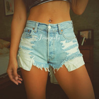 Levis Blue denim shorts High waisted Distressed cutoffs Hipster Indie Clothes