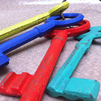 Bright Metal Keys,  Funky and Unusual Decor, Cast Iron Wall Decor, Something Different